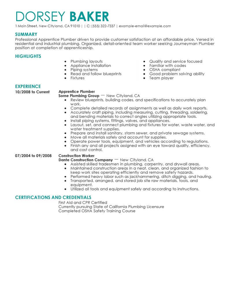 plumber resume no experience sample