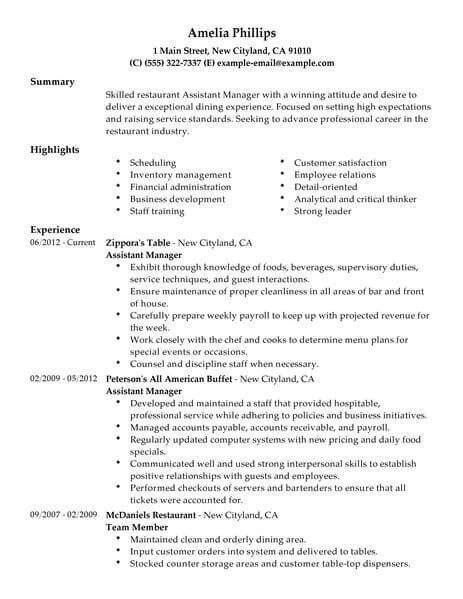 resume objective for assistant restaurant manager