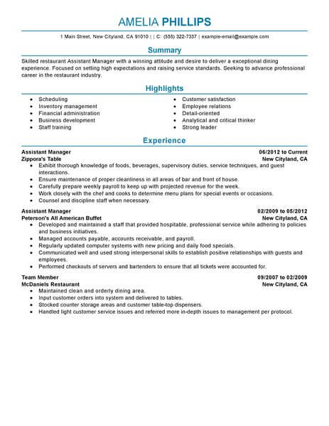 resume examples for fast food restaurant manager