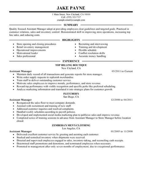 sample resume retail assistant manager