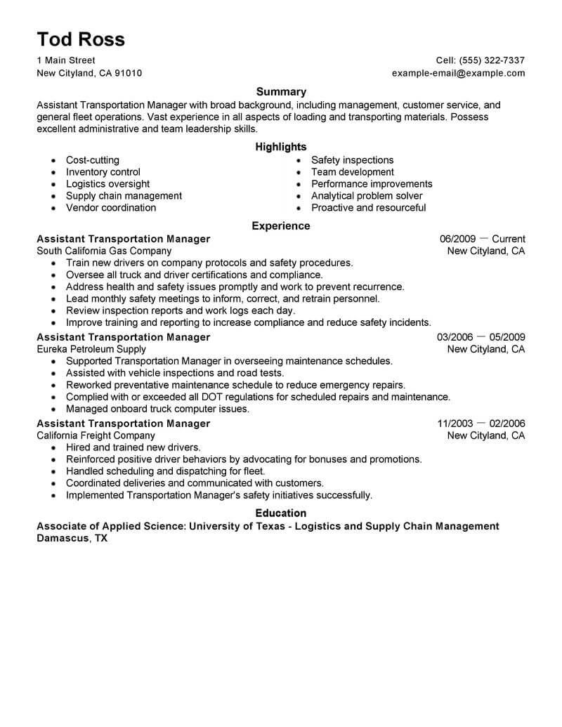 transportation assistant resume sample