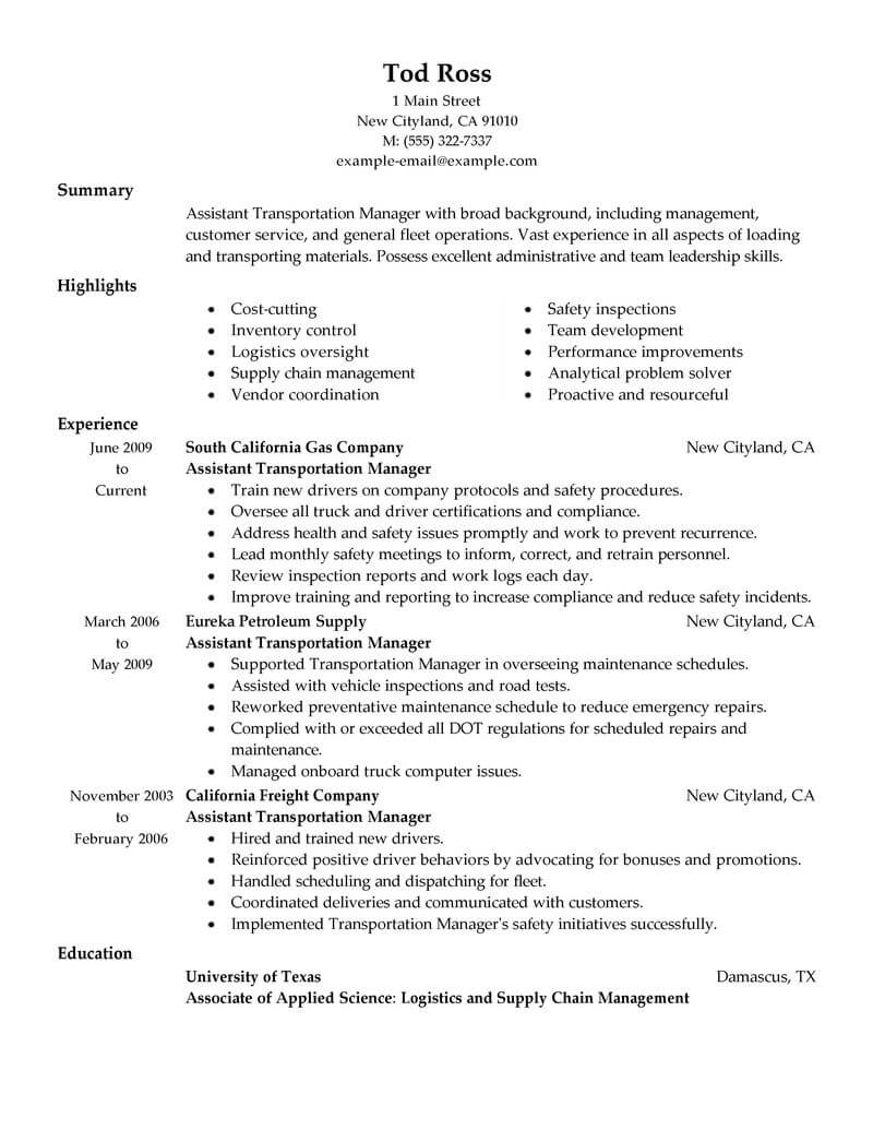 traditional resume examples