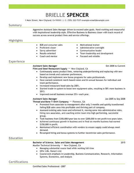 Best Sales Assistant Managers Resume Example LiveCareer