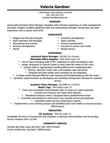Best Retail Assistant Store Manager Resume Example LiveCareer - retail resume example