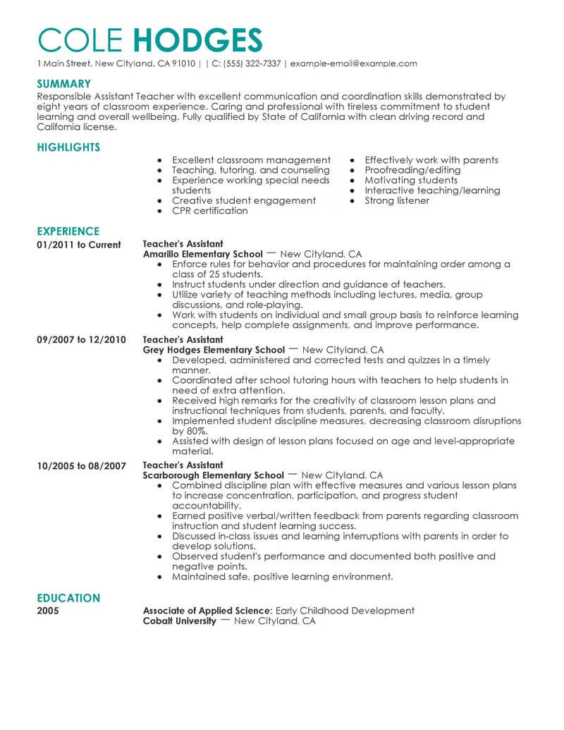 cv for classroom assistant job