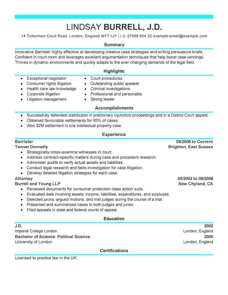 legal resume highlights