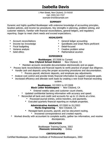 resume summary examples bookkeeper
