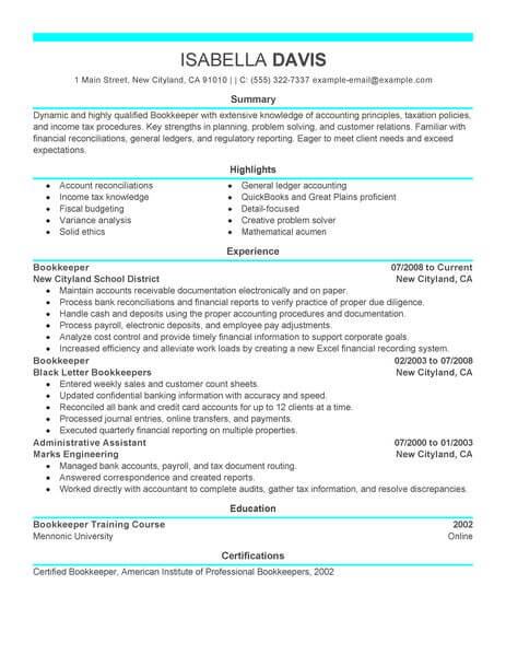 Best Bookkeeper Resume Example LiveCareer