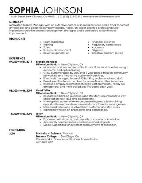 Best Branch Manager Resume Example LiveCareer