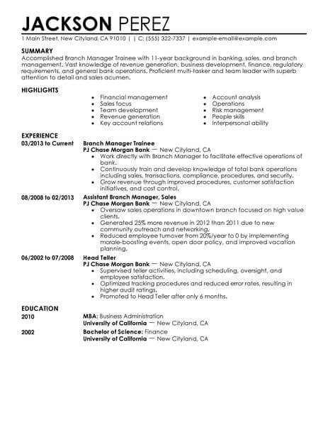 Best Branch Manager Trainee Resume Example LiveCareer