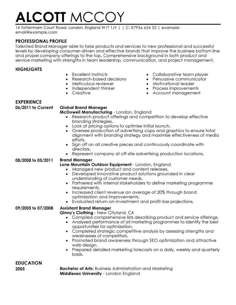 cv commercial marketing