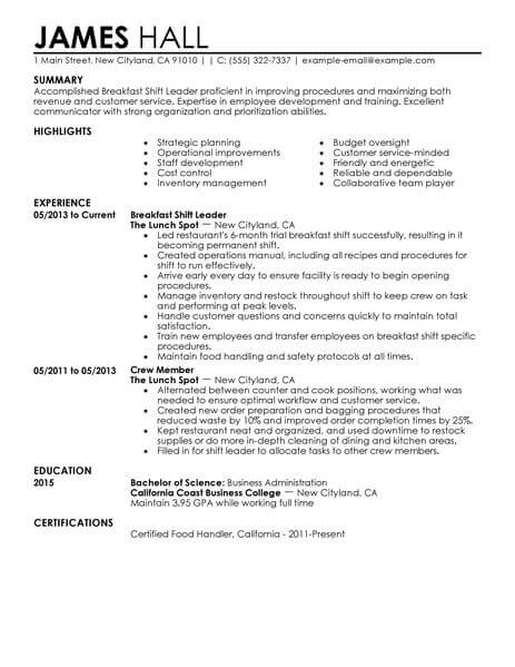 Best Breakfast Shift Leaders Resume Example LiveCareer - shift test engineer sample resume