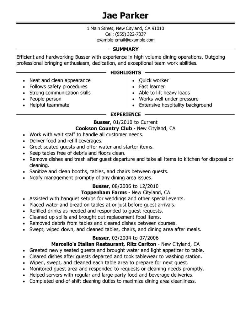 busboy resume templates