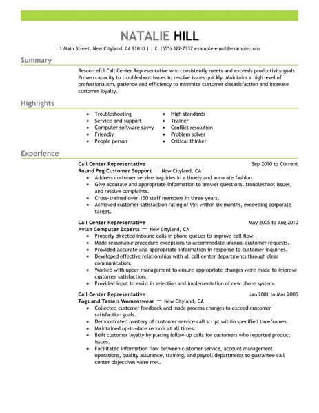 Simple Call Center Representative Resume Example LiveCareer - Call Center Resumes