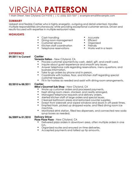 Best Restaurant Cashier Resume Example LiveCareer - sample of restaurant resume