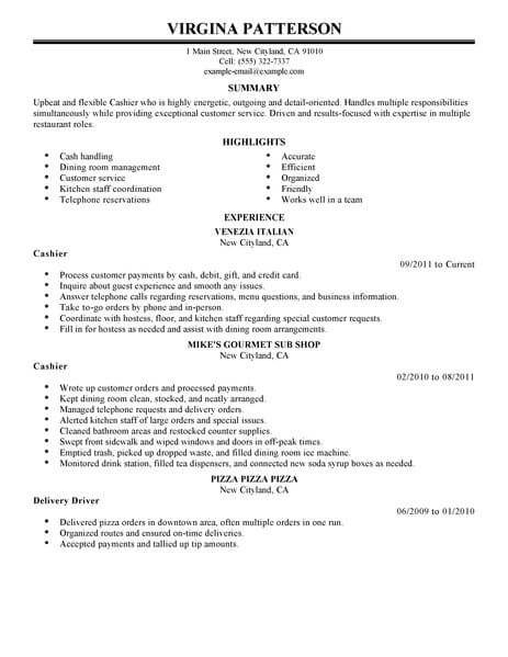 sample cv for cashier job - Maggilocustdesign