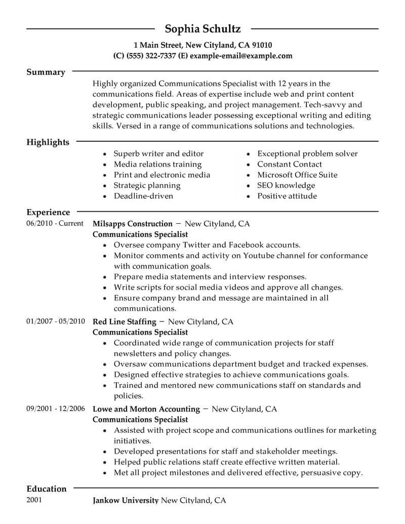 corporate communications specialist resume examples