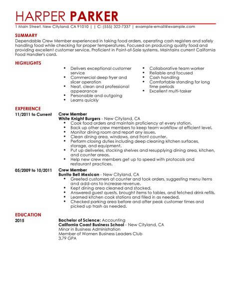 Best Restaurant Crew Member Resume Example LiveCareer - example of restaurant resume