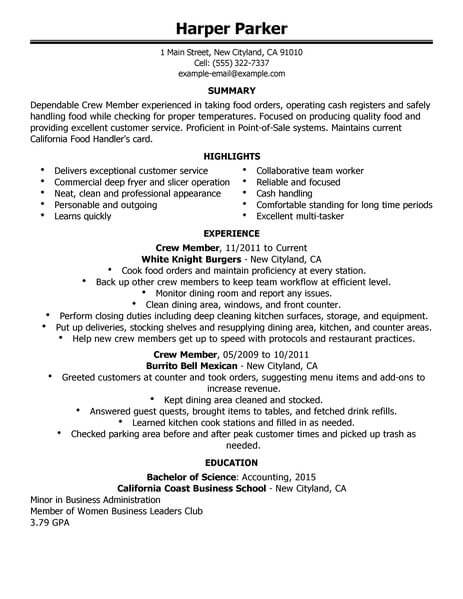 example of resume for fast food manager