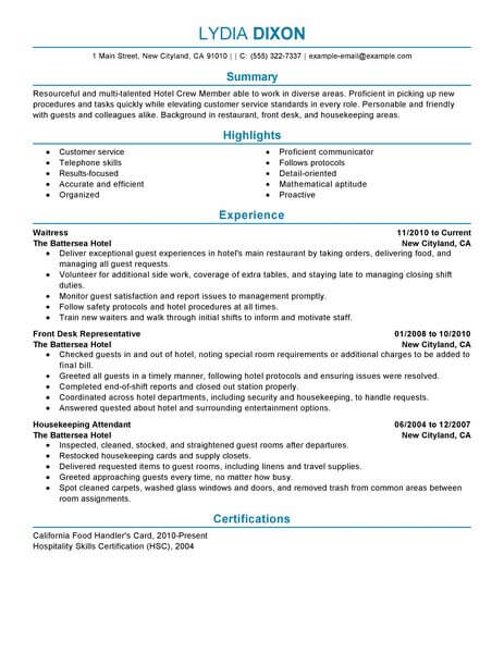 Crew Member Resume Sample No Experience Resumes LiveCareer - Food And Beverage Attendant Sample Resume