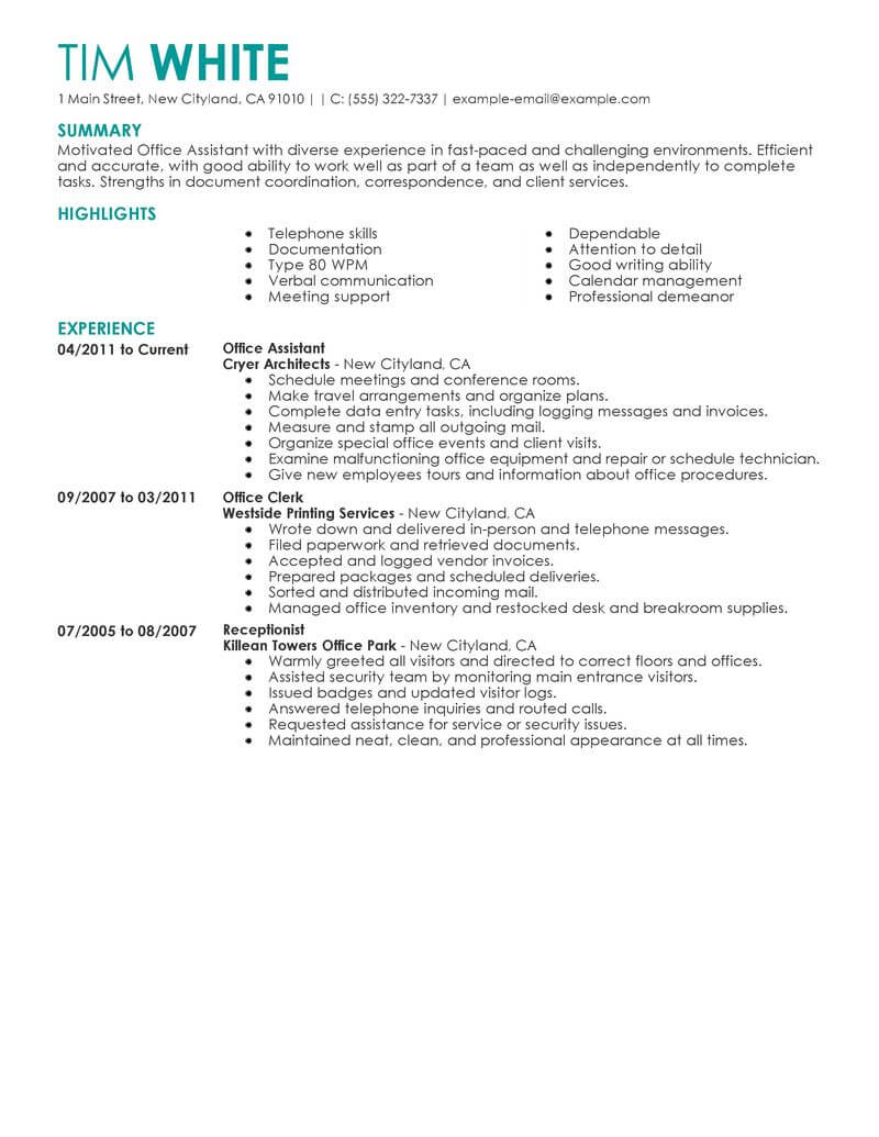 objectives for resume with no work experience