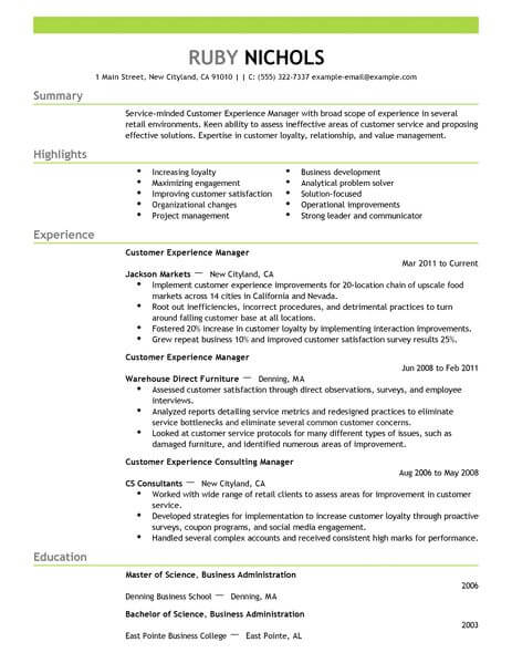 Best Customer Experience Manager Resume Example LiveCareer - Experience On Resume Examples
