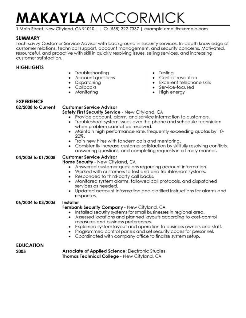 customer service resume highlights examples