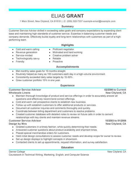 Best Sales Customer Service Advisor Resume Example LiveCareer - sales and customer service resume