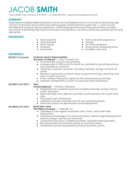 Best Financial Customer Service Representative Resume Example