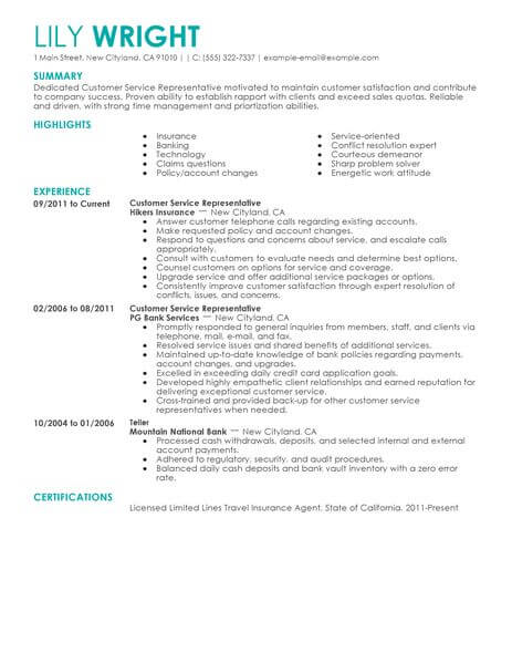 Simple Customer Service Representative Resume Example LiveCareer - Resume Of A Customer Service Representative