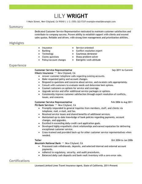 Simple Customer Service Representative Resume Example LiveCareer - customer service rep resume