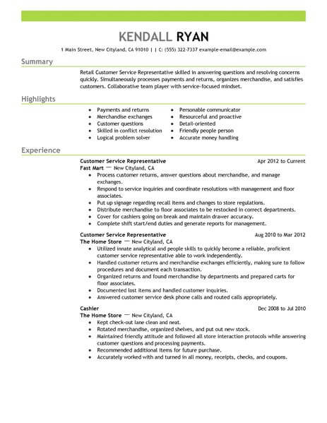 Best Retail Customer Service Representative Resume Example LiveCareer