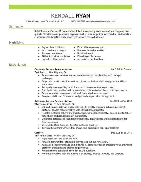 resume format examples retail sales jobs
