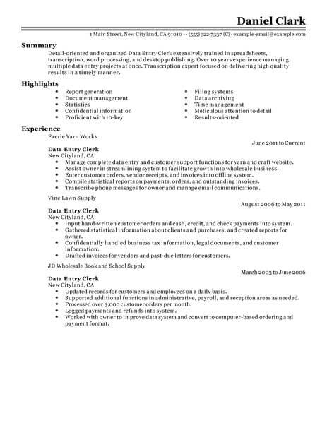 Best Data Entry Clerk Resume Example LiveCareer - data entry sample resume