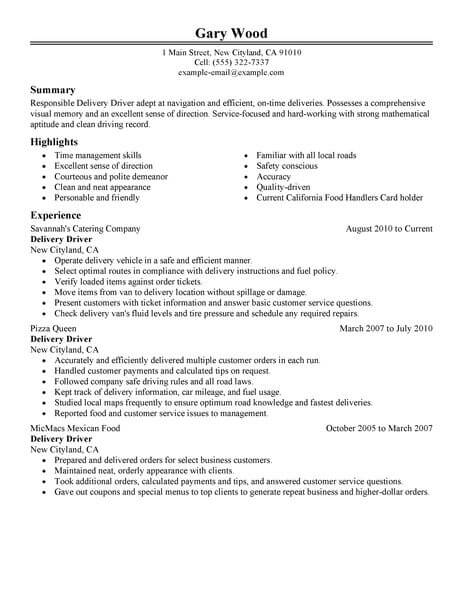the best delivery driver job resume sample