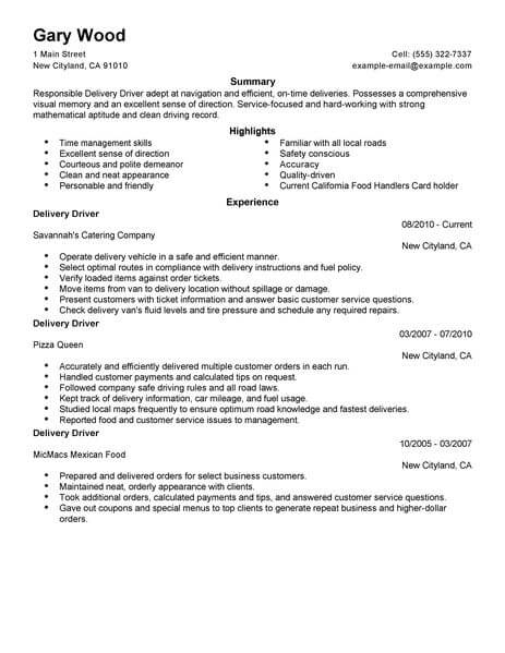 Best Restaurant/Bar Delivery Driver Resume Example LiveCareer