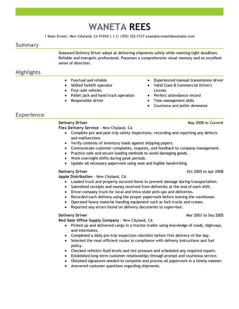 pizza delivery resume example