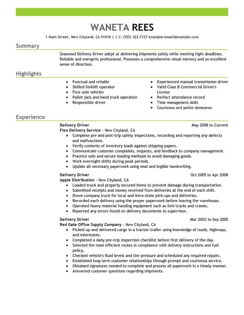 resume summary deliver