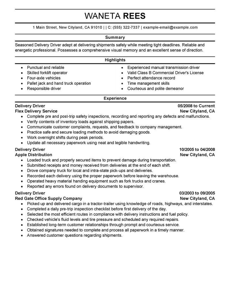 delivery truck driver resume example