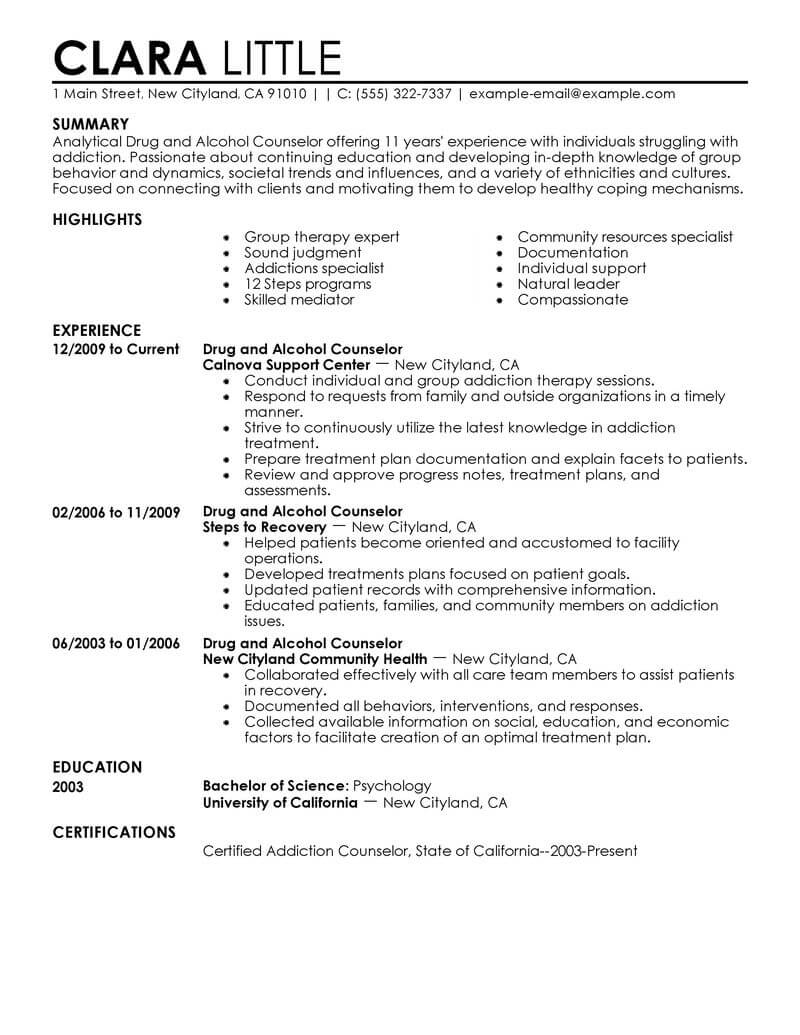 counselor resume sample livecareer