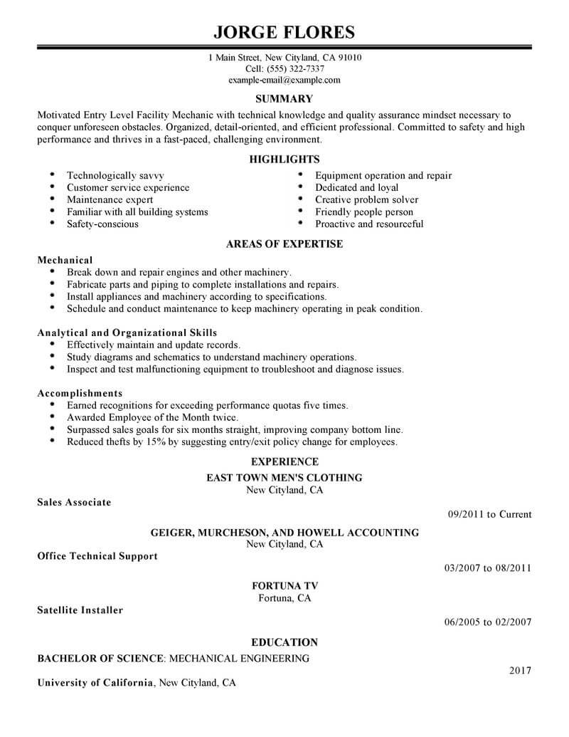 resume job objective examples entry level