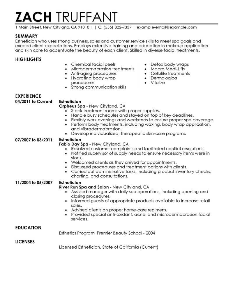sample esthetician resume example