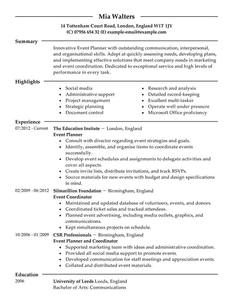 key skills in resume for event planning
