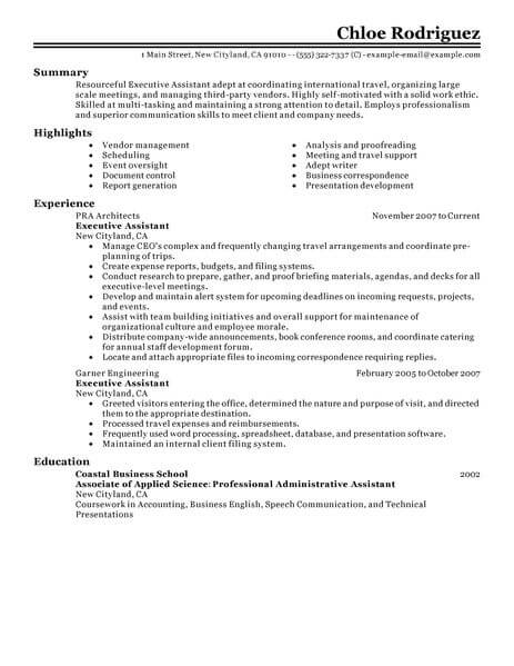 Best Executive Assistant Resume Example LiveCareer - Executive Assistant Resumes