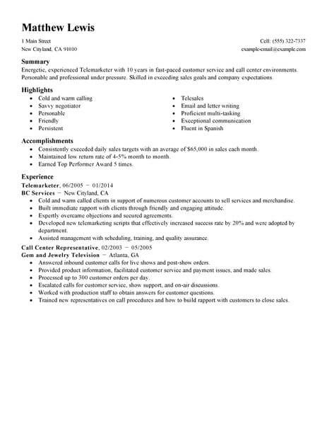 telemarketing resumes - Yelommyphonecompany - Telemarketing Agent Sample Resume