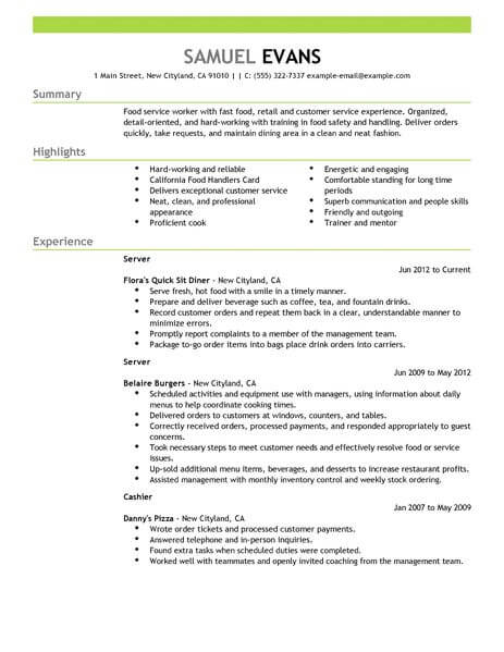 Best Fast Food Server Resume Example LiveCareer - experience summary resume