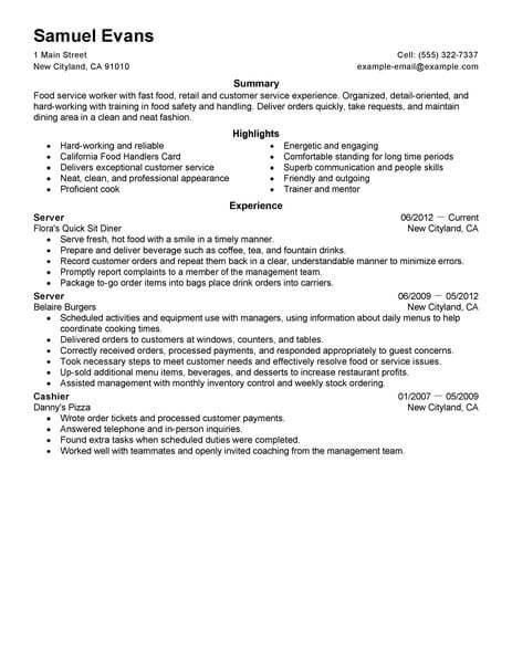 Best Fast Food Server Resume Example LiveCareer - how to make a resume examples