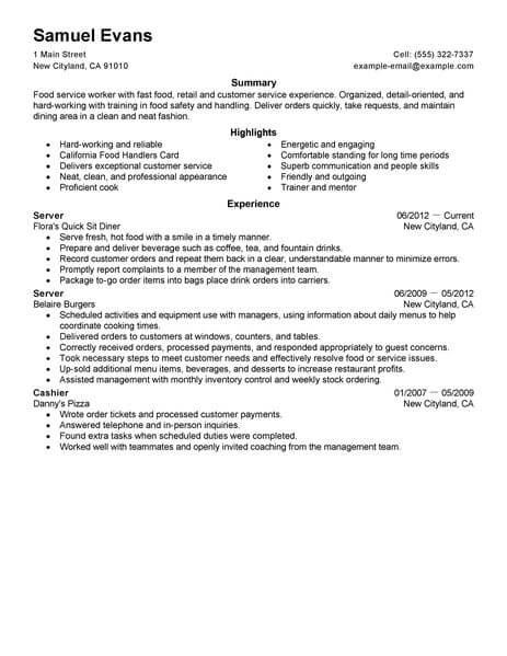 fast food job skills on resume