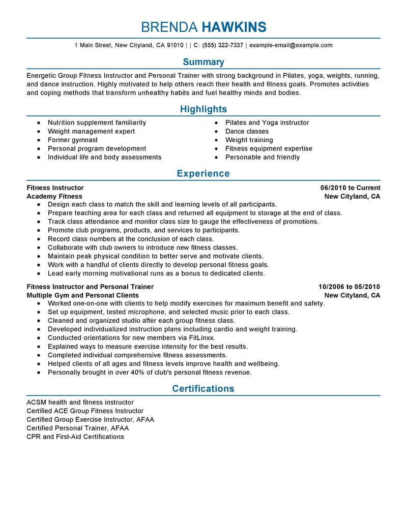 professional personal fitness trainer sample resumes