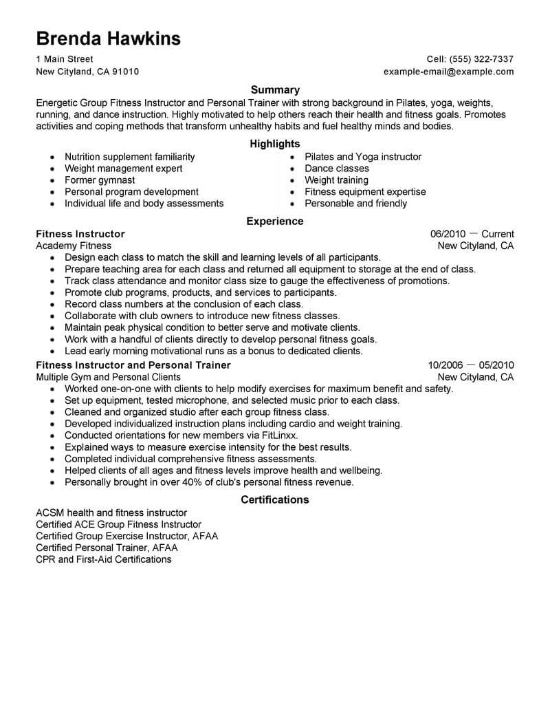 resume examples personal trainer